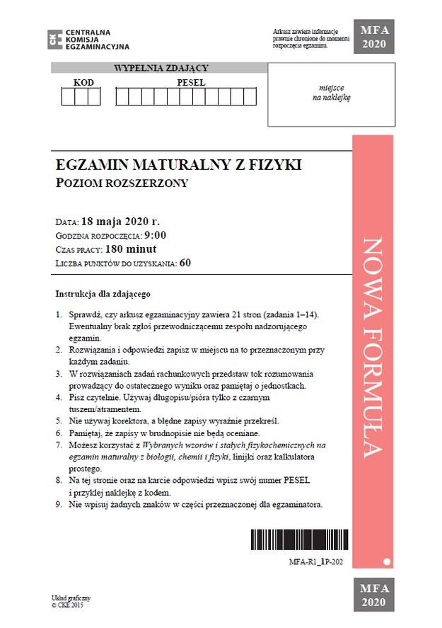 Matura z fizyki - arkusz CKE /CKE