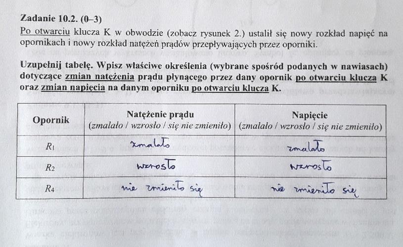 Matura z fizyki - odpowiedź do zad. 10.2 /INTERIA.PL