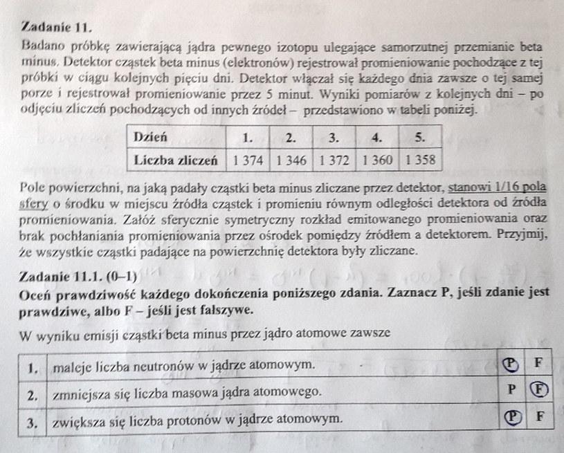 Matura z fizyki - odpowiedź do zad. 11.1 /INTERIA.PL