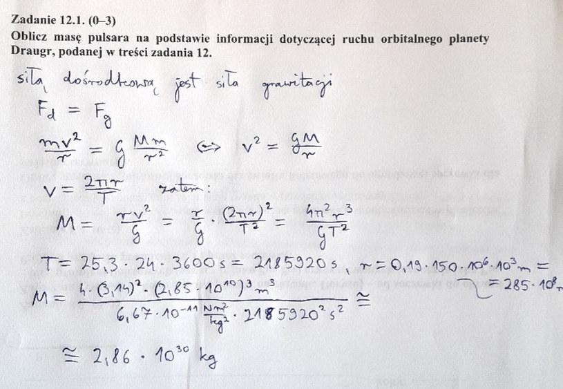 Matura z fizyki - odpowiedź do zad. 12.1 /INTERIA.PL