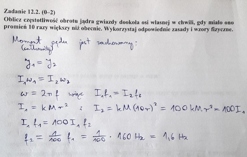 Matura z fizyki - odpowiedź do zad. 12.2 /INTERIA.PL