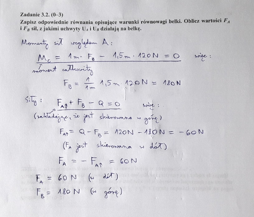 Matura z fizyki - odpowiedź do zad. 3.2 /INTERIA.PL