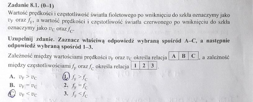 Matura z fizyki - odpowiedź do zad. 8.1 /INTERIA.PL