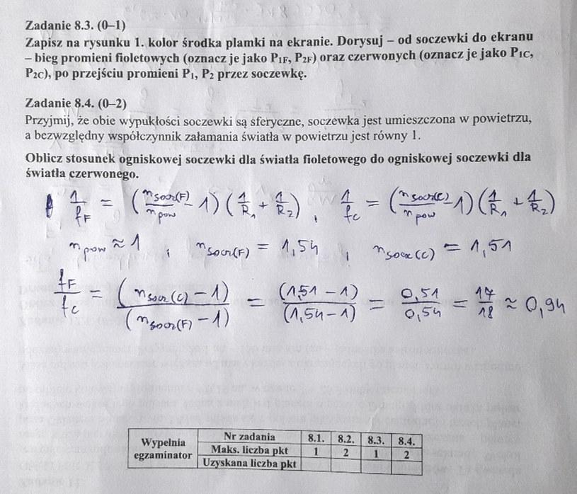 Matura z fizyki - odpowiedź do zad. 8.4 /INTERIA.PL