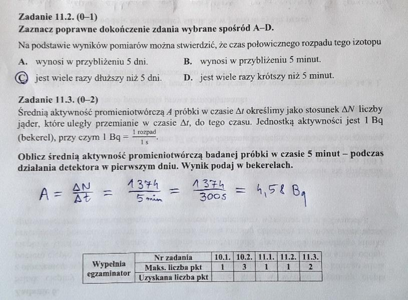 Matura z fizyki - odpowiedzi do zad. 11.2 i 11.3 /INTERIA.PL
