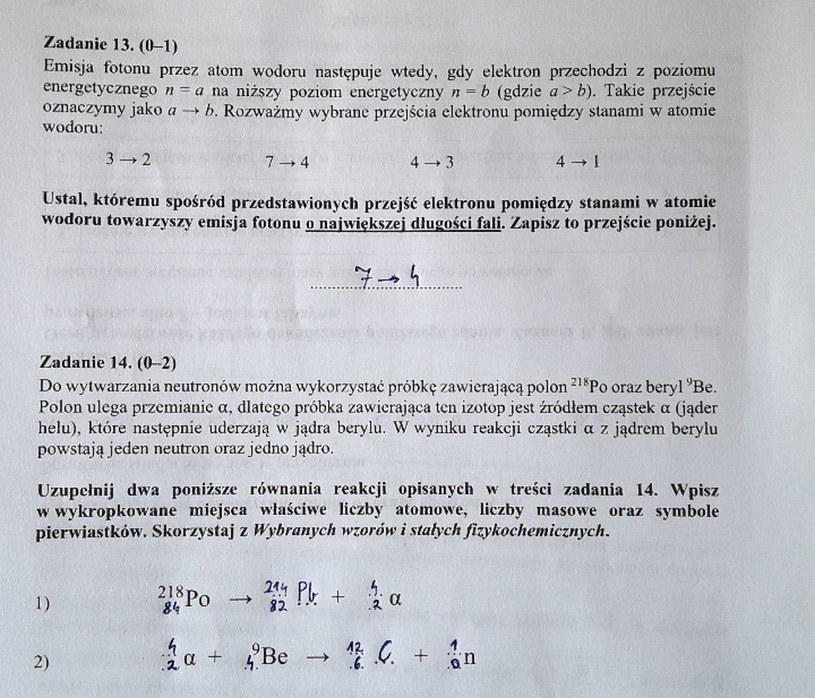 Matura z fizyki - odpowiedzi do zad. 13 i 14 /INTERIA.PL
