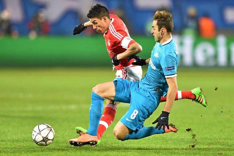 Mauricio (z prawej) zdobył zwycięskiego gola dla Zenita /AFP