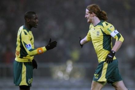 Mauro Cetto i Emerse Fae celebrują wysokie zwycięstwo FC Nantes w Tuluzie /AFP