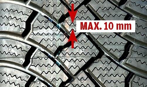 Max. 10 mm pomiędzy sąsiednimi nacięciami bieżnika to warunek pracy na śniegu. /Motor