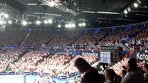 ME siatkarzy 2021. Polska - Słowenia. Radość publiki po wygranym pierwszym secie. Wideo