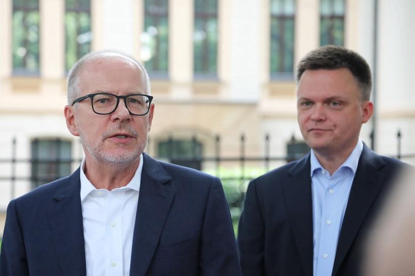 Mec. Jacek Trela i Szymon Hołownia /Wojciech Olkuśnik /PAP