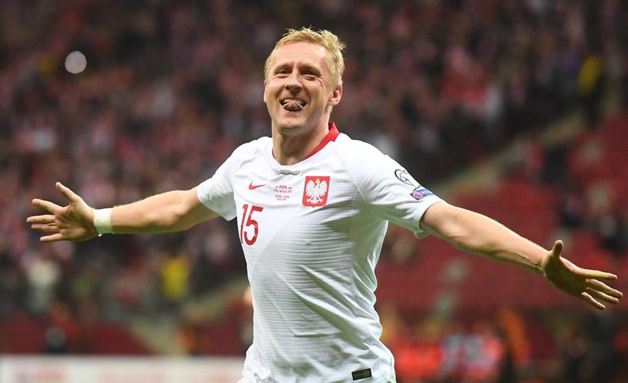 Mecz Polska - Łotwa w eliminacjach Euro 2020: Kamil Glik cieszy się z gola /Piotr Nowak /PAP