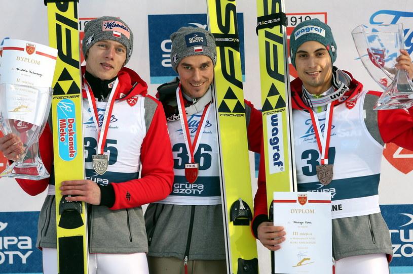 Medaliści MP w skokach (od lewej): Dawid Kubacki, Piotr Żyła, Maciej Kot /Grzegorz Momot /PAP