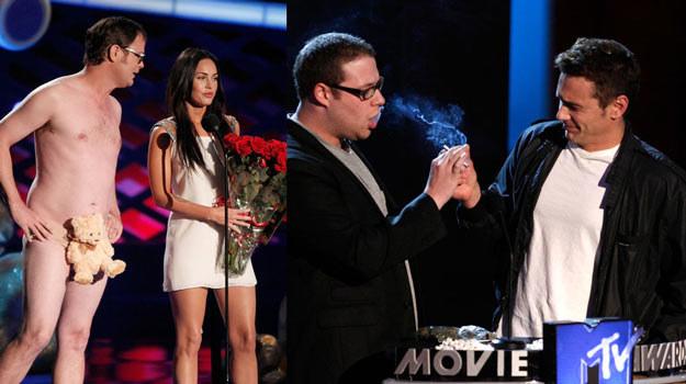 Megan Fox w towarzystwie misia (L) i James Franco oraz Seth Rogen robią zadymę (P)! /Getty Images/Flash Press Media