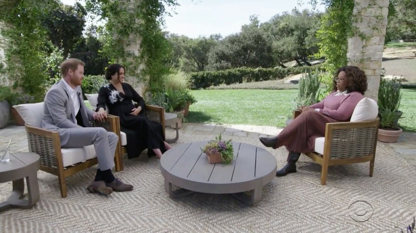 Meghan Markle i książę Harry podczas wywiadu z Oprah Winfrey /CBS/Ferrari Press /East News