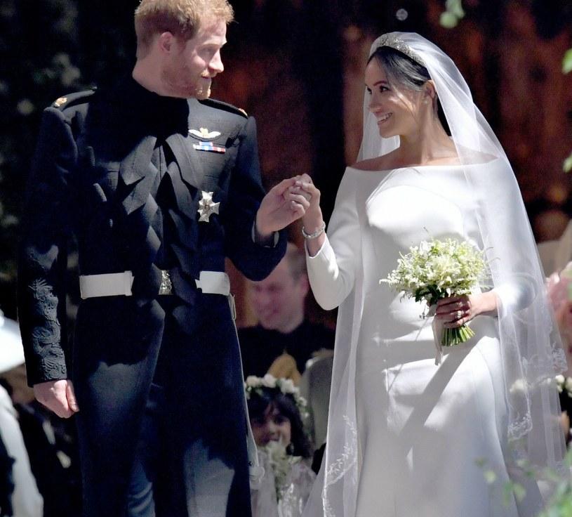 Meghan Markle i książę Harry w dniu swojego ślubu. 19 maja świętowali już trzecią rocznicę ślubu /PA Wire/PA Images /East News