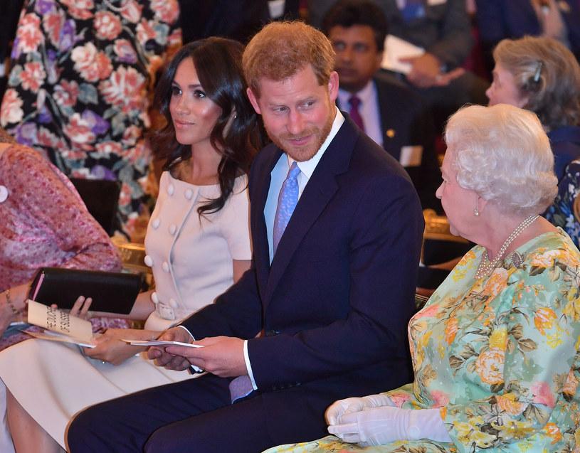 Meghan Markle, książę Harry i królowa Elżbieta II /WPA Pool /Getty Images