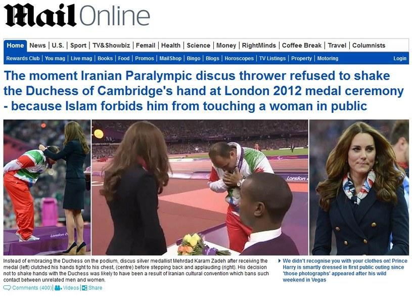 Mehrdad Karam Zadeh odmówił podania ręki księżnej Cambridge Catherine, Fot. Daily Mail /Internet