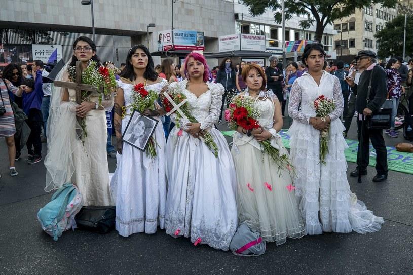 Meksykanki demonstrujące przeciwko przemocy wobec kobiet /Getty Images