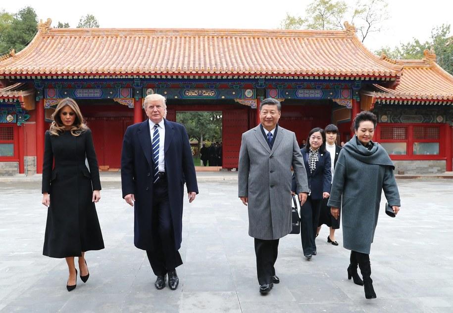 Melania i Donald Trump oraz Xi Jinping i Peng Liyuan /XINHUA/XIE HUANCHI /PAP/EPA