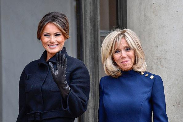 Melania Trump i Brigitte Macron podczas oficjalnej wizyty /Getty Images