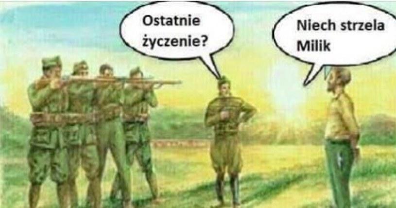 Mem z Arkadiuszem Milikiem (fot. Internet) /