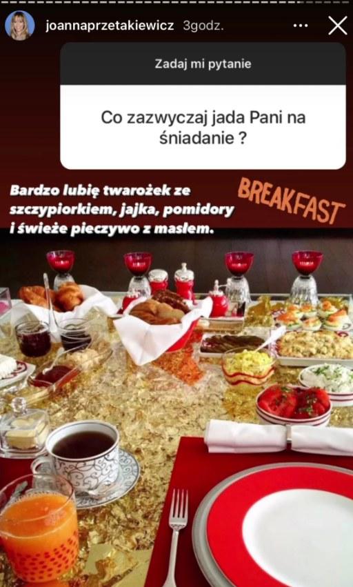 menu Joanny Przetakiewicz, fot. https://www.instagram.com/joannaprzetakiewicz/ /Instagram