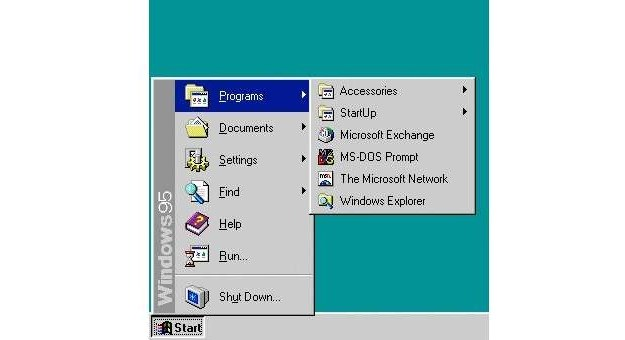 Menu Start - Windows 95 Fot. BusinessInsider.com /vbeta