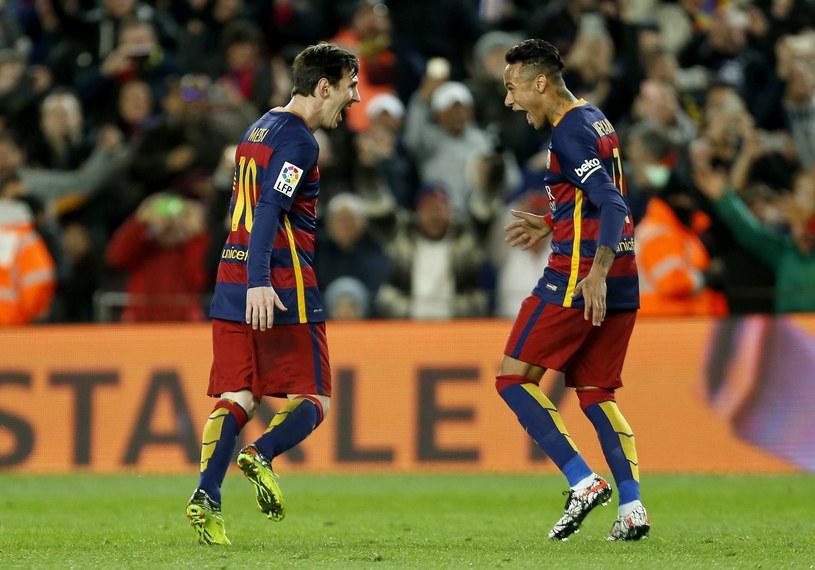 Messi i Neymar po zdobyciu bramki na 1-1 /PAP/EPA