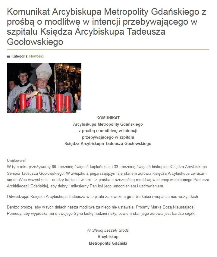 Metropolita gdański ks. abp Sławoj Leszek Głódź zaapelował do wiernych /diecezja.gdansk.pl /