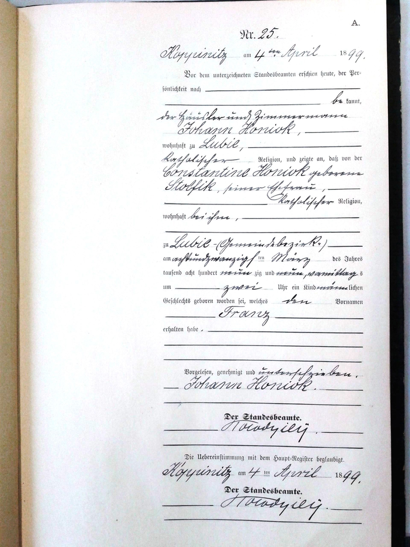 Metryka urodzenia Franciszka Homioka. Fot. ©Ancestry und Landesarchiv Berlin /