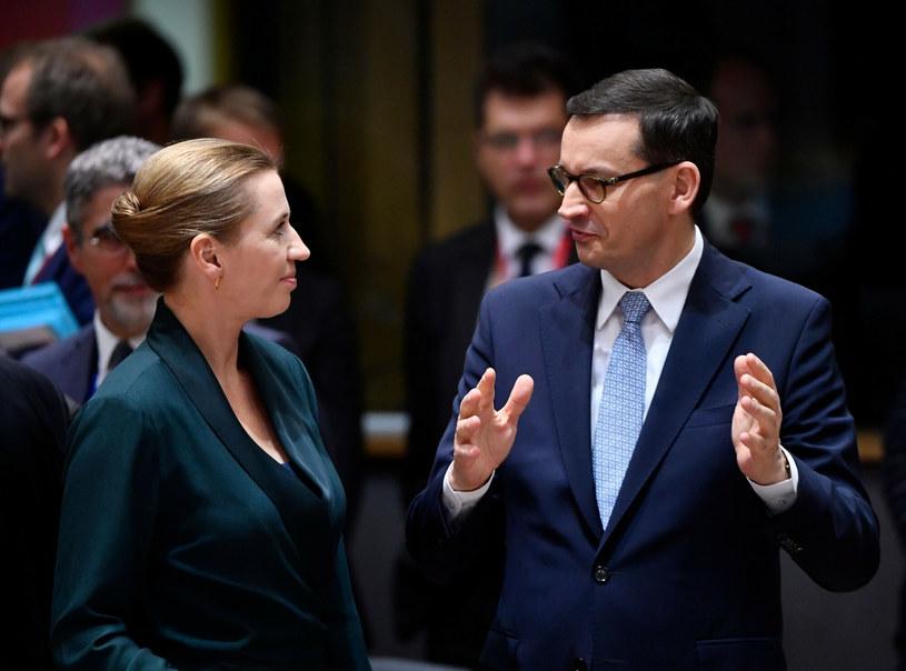 Mette Frederiksen i Mateusz Morawiecki /JOHN THYS/AFP /East News