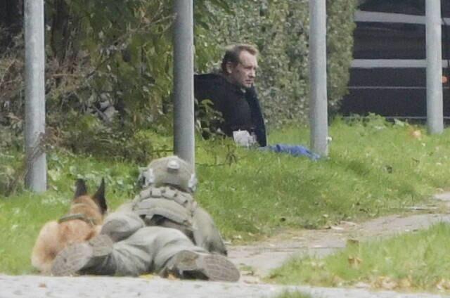 Mężczyzna przypominający Petera Madsena podczas próby ucieczki z więzienia /RITZAU SCANPIX /PAP/EPA