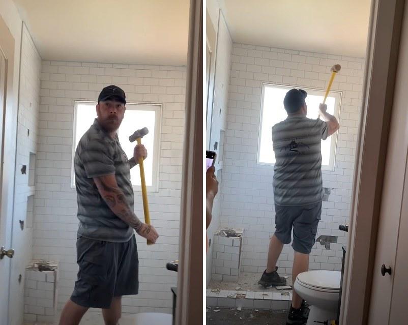 Mężczyzna zniszczył łazienkę, bo nie dostał zapłaty za jej remont! /YouTube