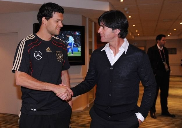 Michael Ballack i trener Niemiec Joachim Loew /AFP