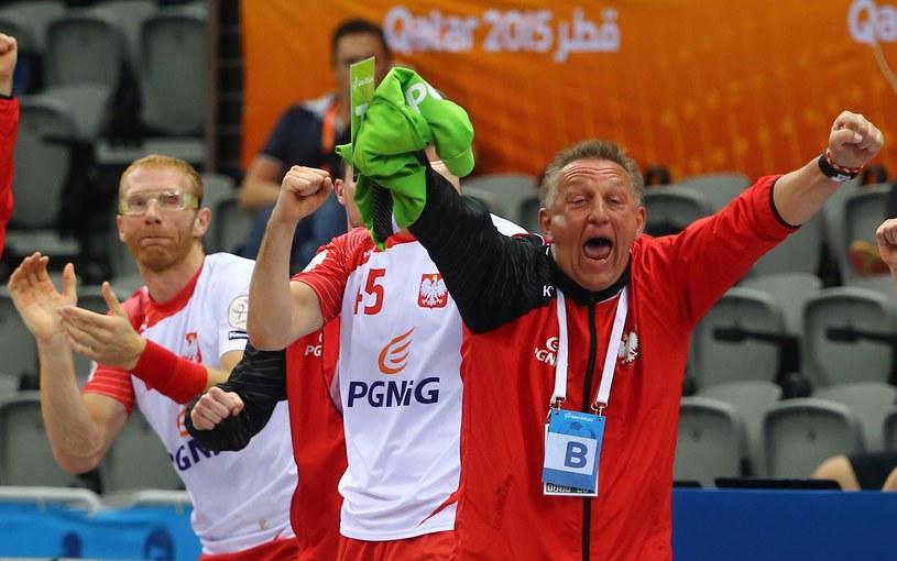 Michael Biegler szaleje po pokonaniu Szwedów /AFP
