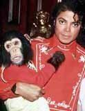 Michael Jackson przed wybieleniem z ukochanym szympansem Bubble /INTERIA.PL
