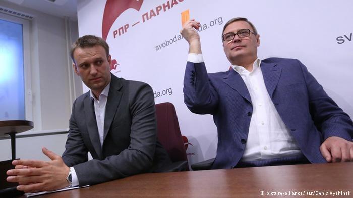 Michaił Kasjanow (z prawej) i Aleksiej Nawalny są najbardziej prominentnymi przedstawicielami nowego sojuszu, picture-alliance/Itar/Denis Vyshinsk /Deutsche Welle