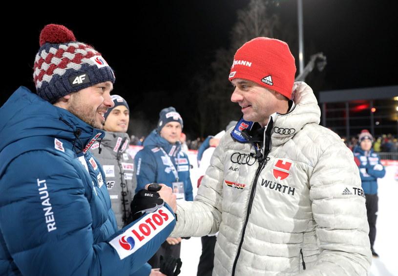 Michal Doleżal (z lewej) i Stefan Horngacher po konkursie w Bischofshofen / Grzegorz Momot    /PAP