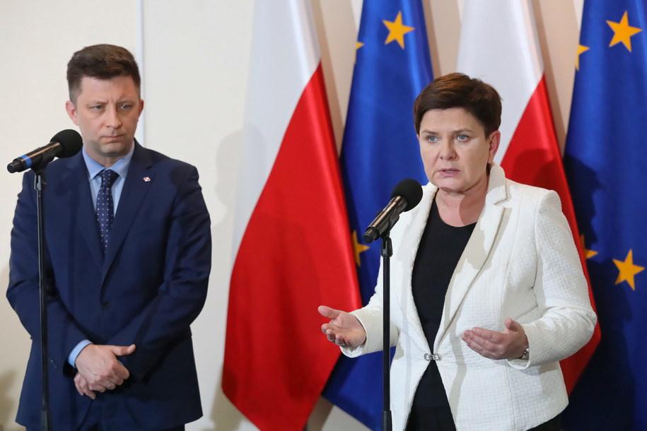 Michał Dworczyk i Beata Szydło po zakończeniu czwartkowych rozmów / Tomasz Gzell    /PAP