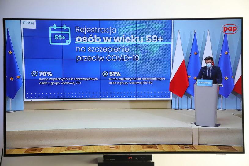 Michał Dworczyk w trakcie konferencji prasowej /PAP/Wojciech Olkuśnik /PAP