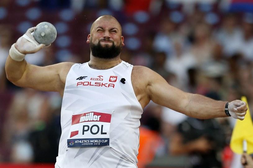 Michał Haratyk ma najlepszy w tym roku wynik w pchnięciu kulą /AFP