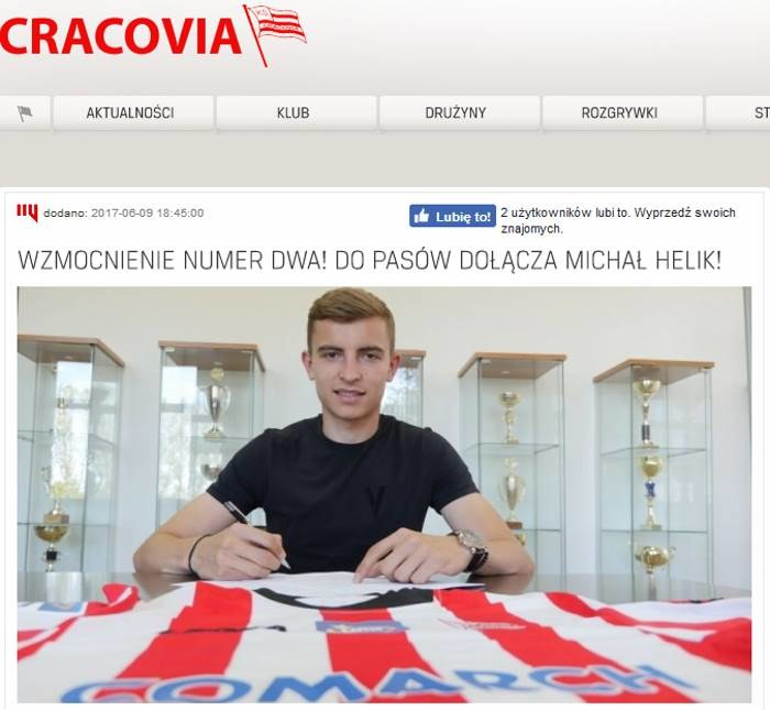 Michał Helik; źródło: cracovia.pl /