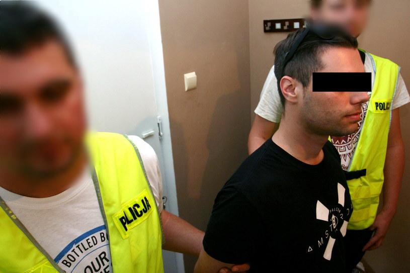 Michał J. w czasie zatrzymania przez policję /Policja /PAP