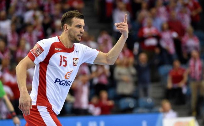 Michał Jurecki cieszy się z gola /Jacek Bednarczyk /PAP