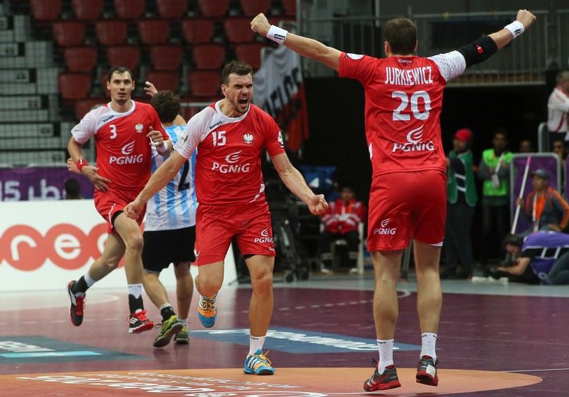 Michał Jurecki świętuje trafienie w meczu z Argentyną /AFP