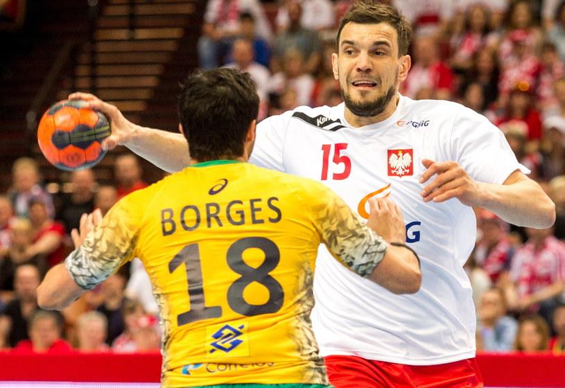 Michał Jurecki w meczu z Brazylią /Fot. Andrzej Grygiel /PAP