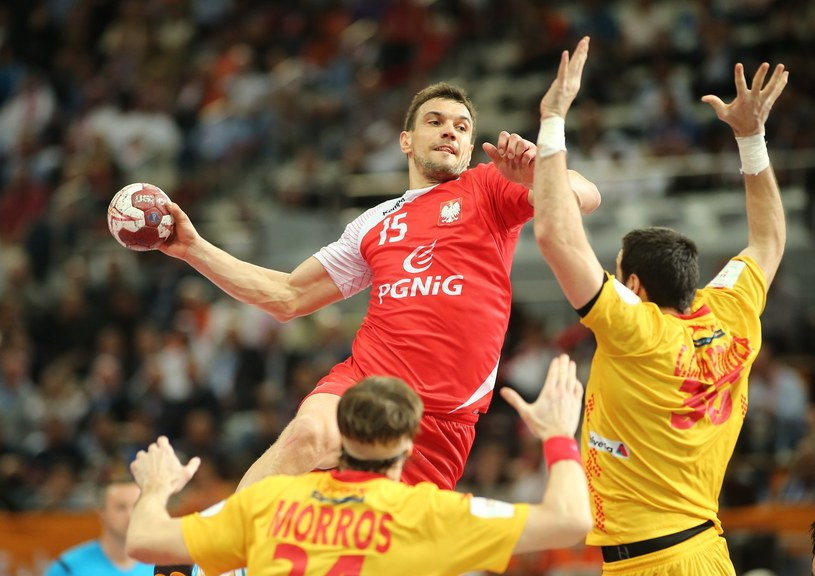 Michał Jurecki w meczu z Hiszpanią o 3. miejsce MŚ /AFP