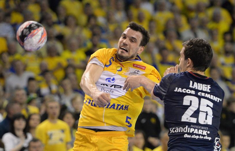 Michał Jurecki w meczu z SG Flensburg-Handewitt /Fot. Piotr Polak /PAP
