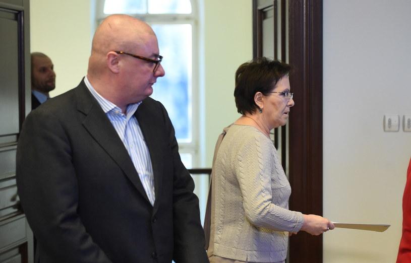 Michał Kamiński i premier Ewa Kopacz /Radek Pietruszka /PAP